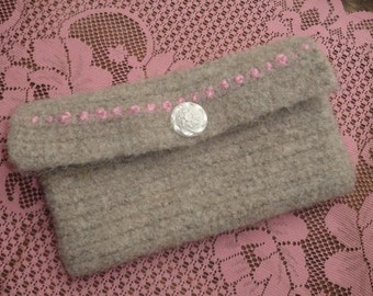 Gray Felted Wool Clutch Purse w Pink Embellishment & White Floral Button Crocheted