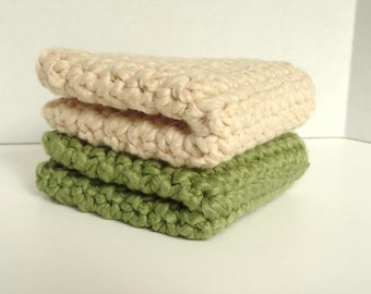 Organic Cotton Crocheted Washcloths Set of Two - Macadamia & Pistachio