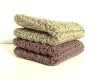 Organic Cotton Crocheted Washcloths Set of Two - Walnut & Khaki