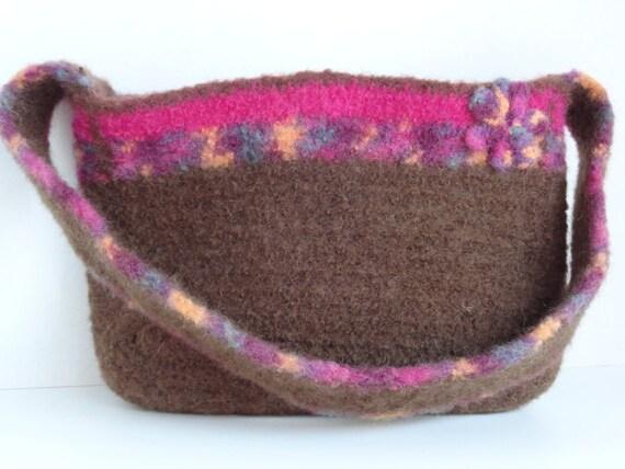 Brown Fuchsia Felted Wool Handbag, Purse, Pocketbook with Felted Flower Embellishment.