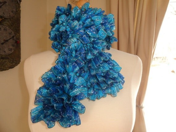 Ruffled Ribbon Spring Fashion Scarf in Multicolor Turquoise Blue with Silver Metallic Thread Accents
