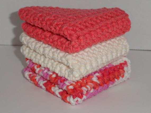 Crocheted Cotton Washcloths Dishcloths Set of 3 Tangerine, Ecru & Candy Stripe
