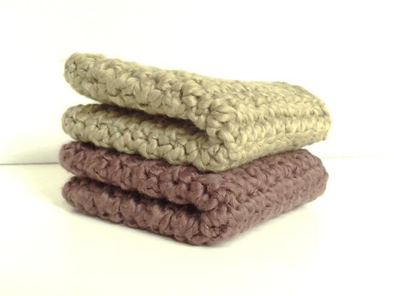 Organic Cotton Crocheted Washcloths Set of Two - Walnut & Khaki