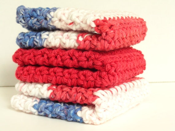 Crocheted Cotton Washcloths Dishcloths Set of 3 in Patriotic Red White & Blue
