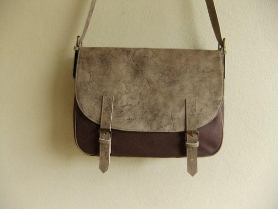 Messenger Bag leather and canvas handbag shoulder bag natural bag