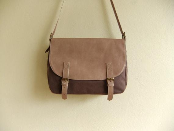 Messenger Bag leather and canvas handbag shoulder powder bag
