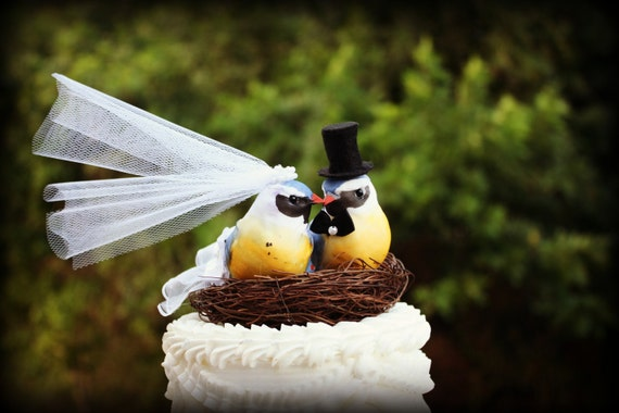 """Love Bird Bride and Groom in Yellow and Blue 5"""" wide x 4.8"""" tall"""