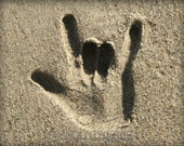 I LOVE YOU. Sign Language Hand in the Sand Laguna Beach Fine Art Photograph At Checkout, Choose Lustre Print or Gallery Wrapped Canvas