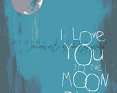 I Love You To The Moon and Back As Seen on Zulily. Nursery Decor Choose Lustre Print, Canvas or Bamboo Mount