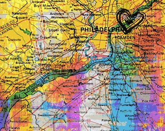 Love Living in Philadelphia City Map Decor At Checkout, Choose Lustre Print or Gallery Wrapped Canvas