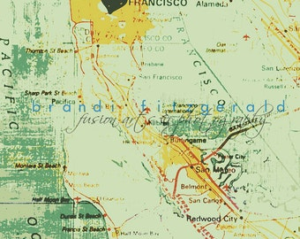 Heart in Frisco, 1970 California Map Wall Decor Product Options and Pricing via Dropdown Menu