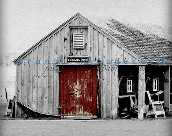 Nautical Photography Red Boat Shed Maritime Museum Salem Color Isolation Photo At Checkout, Choose Lustre Print or Gallery Wrapped Canvas