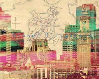 Boston Old & Boston New.  Boston Harbor Skyline City At Checkout, Choose Lustre Print or Gallery Wrapped Canvas