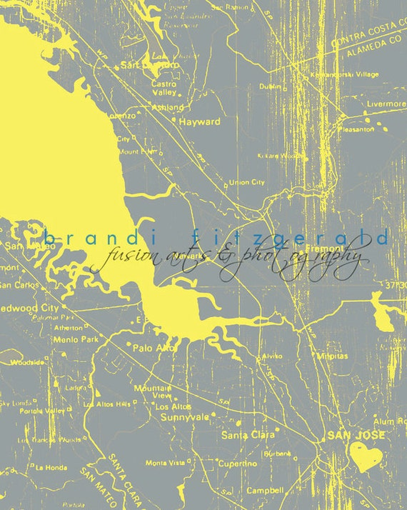 San Jose Shout Out, 1970.  California Map Yellow Grey Decor Choose Lustre Print, Canvas or Bamboo Mount