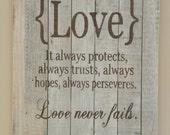 1 Corinthians 13 LOVE Primitive country sign