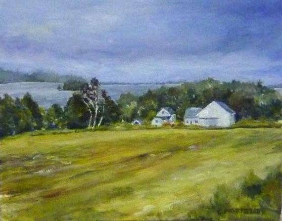 Farm View, Original Acrylic Landscape Painting, Maine, Lakes