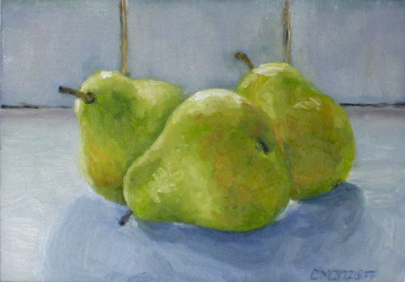 Family of Pears Still Life Oil Painting on Etsy