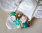 OOAK Vintage Style Necklace with  Peach and Mint green Blossoms Pendant
