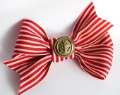 Red and White Ribbon bow with a vintage button with anchor