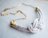 White Nautical Knot  Rope Necklace with golden chain