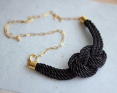Black Nautical Knot  Rope Necklace with golden chain by pardes israel