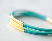 Reserved for andreaspence: Pastel colors Leather Bracelet with 6 Silver tubes by pardes israel