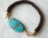 Turquoise and Brown Cord Bracelet by pardes israel