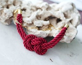 Red Wine Nautical Knot  Rope Necklace with golden chain