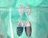 SALE Delicate earrings with Kyanite 16k silver plated  by pardes israel