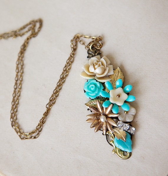 OOAK Christmas Gift for Her under 50 Vintage Pendant Teal and Sand Blossoms