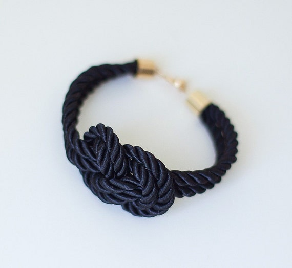Black Night Nautical Knot  Silk Rope  Bracelet by pardes israel