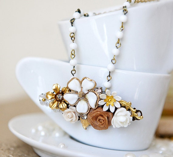 OOAK Shabby Chic Vintage Pendant GOLD and White Blossoms on the gold plated chain