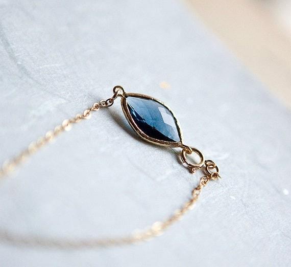 My Tiny Love 14k gold fill chain Bracelet with Blue transparent glass bead in 12k bezel