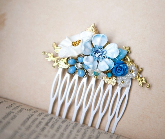 Reserved for Natalie: Bridal Hair Comb - OOAK Shabby Chic Vintage Light Blue and White Blossoms Wedding Romantic Bridesmaid Gift by pardes