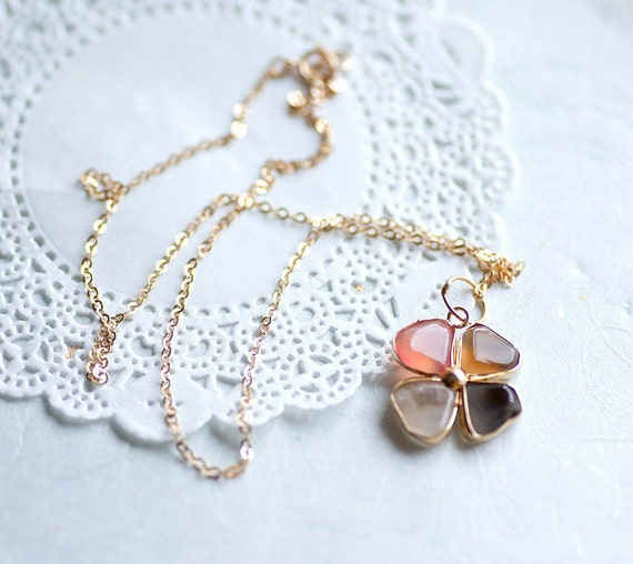 OOAK Agate shamrock clover flower 14k gold fill chain Necklace with tiny pendant