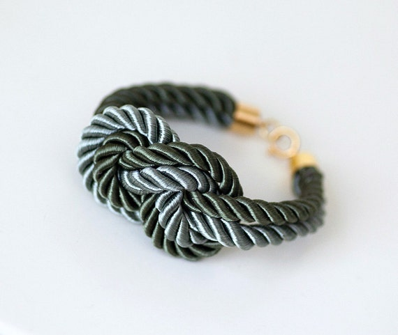 Resered for FengK: LIMITED COLLECTION Light and Dark Olive Nautical Knot  Silk Rope  with anchor knot eight Bracelet