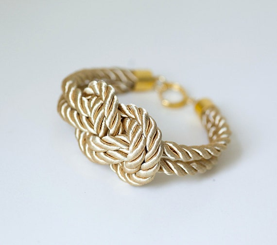 LIMITED COLLECTION Light Gold Nautical Knot  Rope with sailor knot Eight Bracelet