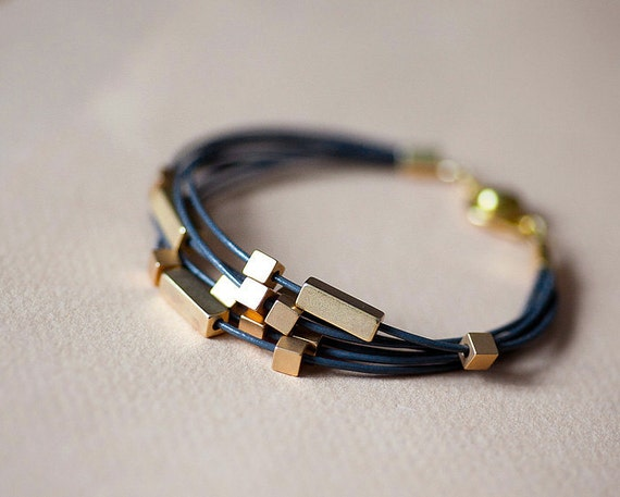 Dark Gray Leather Bracelet with Mat Golden Rectangles and Cubes by pardes israel