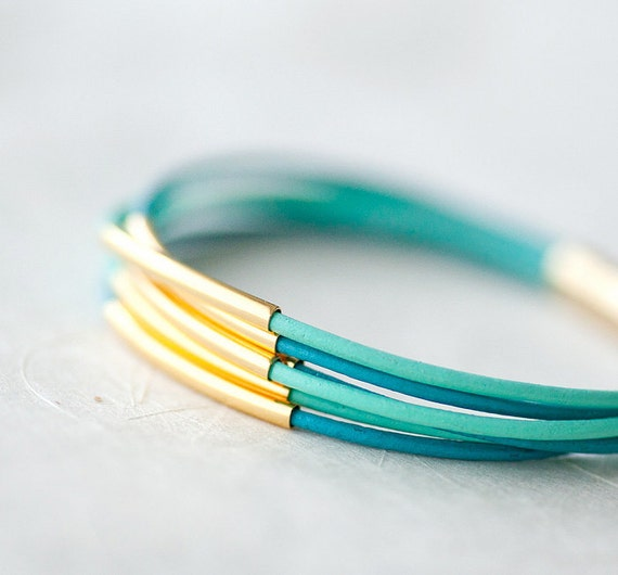 Pastel colors Leather Bracelet with 6 Golden tubes by pardes israel