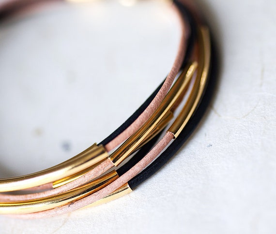 Black and Beige Leather Bracelet with 6 Golden tubes by pardes israel