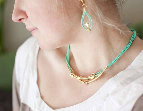 Mint Green Leather Necklace with Golden Small Stars and Tubes by pardes israel