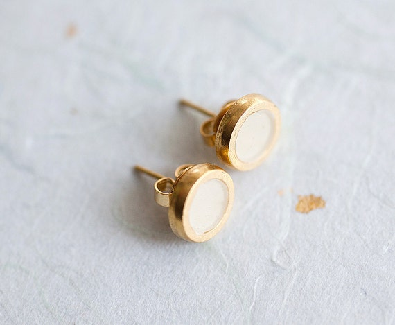 Small Ivory Stylish Gold plated earring studs with enamel - Everyday jewelry by pardes israel