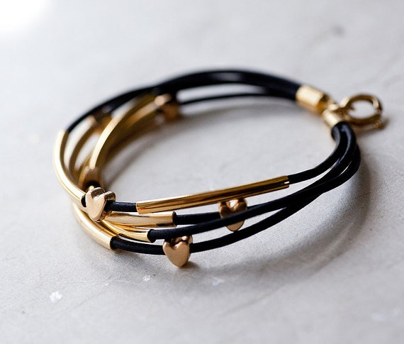 Black Leather Bracelet with Golden Small hearts and Tubes by pardes israel