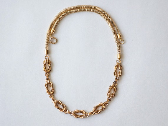 NEW Collection: Mixed Vintage and Modern Mesh Cord Chain Necklace with Sailor knots by pardes israel