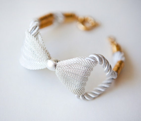 NEW Collection - Silver Mesh Bow with White Rope bracelet by pardes israel