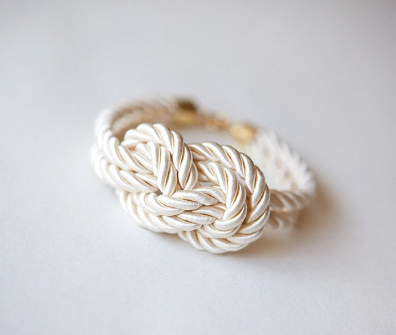 Reserved for alynierzwicki: Set of TWO Ivory Wedding Nautical Knot  Rope with sailor knot Eight Bracelet by pardes israel