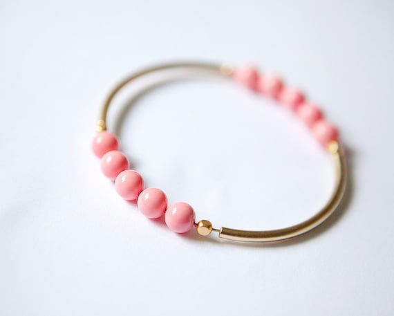 SUMMER Collection - rose coral beads and mat golden tubes bangle bracelet by pardes israel