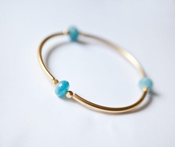 SUMMER Collection - Light blue Quartz faceted beads and mat golden tubes bangle bracelet by pardes israel
