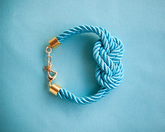 Turquoise Nautical Sailor Knot Rope Bracelet by Pardes israel