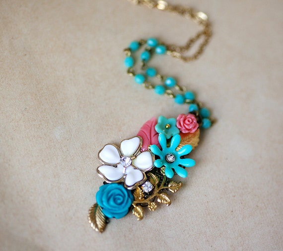 OOAK Vintage style Necklace with Mint green and Coral Blossoms Pendant
